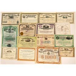 Fifteen Different Railroad Stock Certificates & Bonds  (117365)
