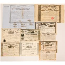 Ten 1850's Railroad Stock Certificates Bonds from Different Companies  (117364)
