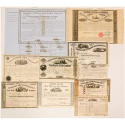 Ten 1850's Railroad Stock Certificates Bonds from Different Companies  (117364)
