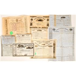 Ten Different 1850's Railroadiana Stocks and Bonds  (117366)