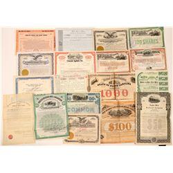 Large Group of Various Eastern Railroad Stocks & Bonds (18)  (111683)