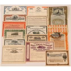 Lot of Miscellaneous Railroad Stocks (14)  (111688)