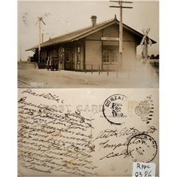 Gonzales Train Depot, Railroad Station, Calif, 1910 RPC  (119935)