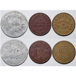 Fresno, CA: Grand Central Bar & Hotel Tokens  (117618)