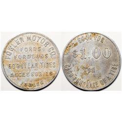 Fowler Motor Company token   (115217)