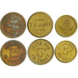 Three Virginia City, Nevada Tokens  (108385)