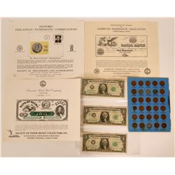 Collection of Numismatic Items 1940's Lincoln Head, Barr Notes  (117359)