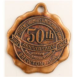 50th Anniversary Medal Citizens-Farmers & Merchants Bank  (58164)