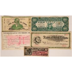 Group of Assorted Colorful Scrip Includes $100 at San Pedro Elks Lodge, 1906  (118311)