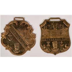 Pair of 'Naval Fleet Visit' 1908 FOBS in Fabulous Condition  (118183)