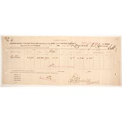 Carson City Mint Memorandum of Silver Bullion Deposit  (64374)