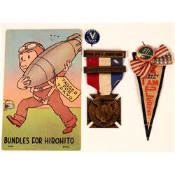 World War I Medal, Pinbacks and Postcard  (118060)