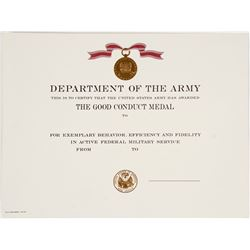 Army Good Conduct Medal Certificate  (64312)