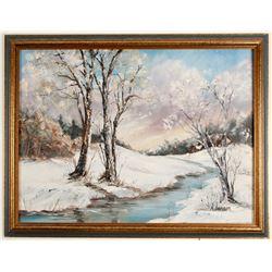 Snow Scene Painting by M. Jensen  (64479)