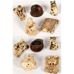 Japanese Netsuke, Carved Resin Replicas (5 Pieces)  (112768)