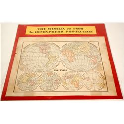The World in Hemispheric Projection Map  (63110)