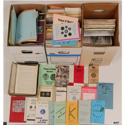 Token, Philatelic, Postcard Research Library, 3 boxes  (119614)