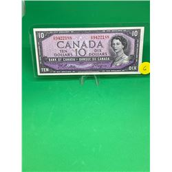 1954 BANK OF CANADA $10 NOTE.MODIFIED PORTRAIT.