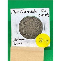 1910 (EDWARD LVES) CANADA 50 CENTS