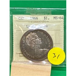1966 (LG BEADS) CANADA SILVER DOLLAR.ICCS GRADED MS-64