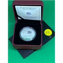 2011 (HIGHWAY OF HEROES) CANADA $10 FINE SILVER COIN.