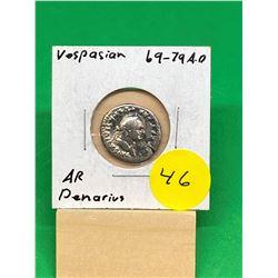 ANCIENT ROME.. 69-79 A.D VESPASIAN AR DENARIUS..