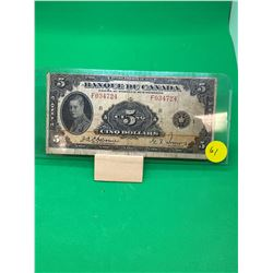 1935 BANK OF CANADA $5 NOTE(FRENCH TEXT) RARE!