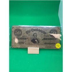 1864 CONFEDERATE STATES $50 NOTE