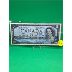 1954 BANK OF CANADA $5 NOTE.MODIFIED PORTRAIT