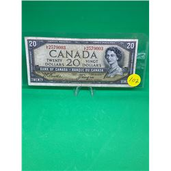 1954 BANK OF CANADA $20 NOTE.MODIFIED PORTRAIT
