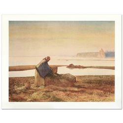 """William Nelson, """"Mussel Digger"""" Limited Edition Lithograph, Numbered and Hand Signed by the Artist."""