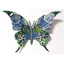 "Patricia Govezensky- Original Painting on Cutout Steel ""Butterfly CCXLIII"""