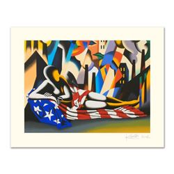 """Mark Kostabi, """"America"""" Limited Edition Serigraph, Numbered and Hand Signed with Certificate."""