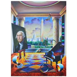 """Ferjo, """"Capitol View"""" Original Painting on Canvas, Hand Signed with Letter of Authenticity."""