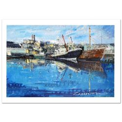 """""""Penzance Harbor"""" Limited Edition Giclee on Canvas (36"""" x 24"""") by Alex Zwarenstein, Numbered and Han"""