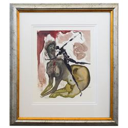 "Salvador Dali- Original Color Woodcut on B.F.K. Rives Paper ""Inferno 12"""