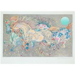 """Guillaume Azoulay- Serigraph on paper with hand laid silver leaf  """"STARDUST"""""""