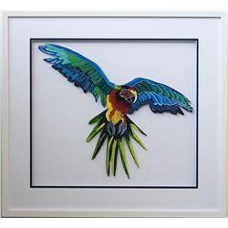 "Patricia Govezensky- Original Painting on Laser Cut Steel ""Macaw X"""