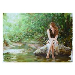 """Vidan, """"By The River"""" Limited Edition on Canvas, Numbered and Hand Signed with Certificate."""