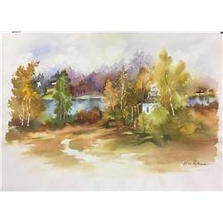 """Zina Roitman- Original Watercolor """"Autumn"""""""