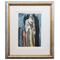 "Salvador Dali- Original Color Woodcut on B.F.K. Rives Paper ""Inferno 10"""