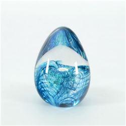 """Glass Eye Studios, """"Aqua Flower"""" Hand Blown Glass Egg Sculpture (Second)."""