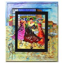 """Patricia Govezensky- Original Watercolor with Hand Painted Frame """"Cafe De Paris"""""""