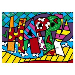 "Romero Britto ""Happy Mini Word"" Hand Signed Giclee on Canvas; Authenticated"