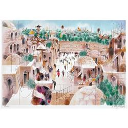 "Shmuel Katz- Original serigraph ""The Jewish Quarter"""