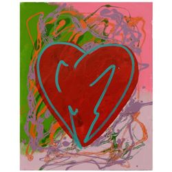 "Steve Kaufman (1960-2010), ""Heart"" Hand Painted Limited Edition Silkscreen on Canvas, Numbered 28/40"