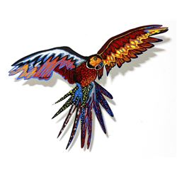 "Patricia Govezensky- Original Painting on Laser Cut Steel ""Macaw VI"""