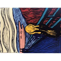 "Andy Warhol- Silk Screen ""Munch's 'The Scream' - Orange"""