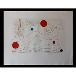 """Salvador Dali- Original Etching with color """"Water Tower"""""""