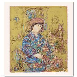 """""""Umbria's Garden"""" Limited Edition Serigraph by Edna Hibel (1917-2014), Numbered and Hand Signed with"""